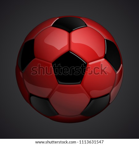 Football championship Design banner. Illustration banner with logo Realistic red glossy soccer ball Isolated on background. red classic leather football ball