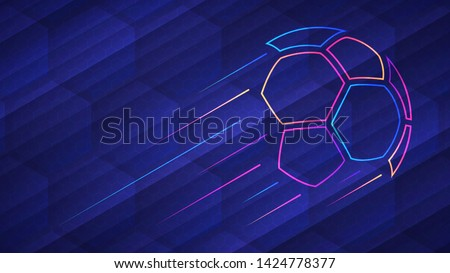 Football championship light background. Vector illustration of abstract glowing neon colored soccer ball and hexagon grid pattern over blue background
