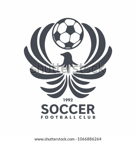 Football club logo with fenix and ball for emblem, Soccer club. vector