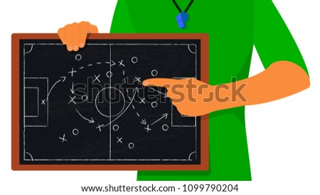 Football coach hand drawing a tactics of soccer game with white chalk on blackboard, vector illustration