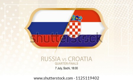 Football competition Russia vs Croatia, Quarter-finals. On beige soccer background.