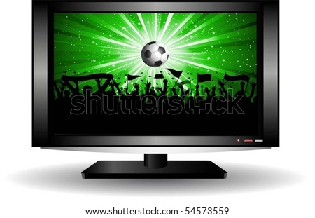 Football crowd on LCD television screen