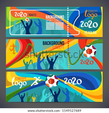 Football cup banner concept 2020 World championship. Background concept of player with football ball around of soccer symbols. Champion football game. Symbol sport cup.