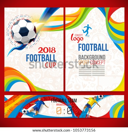 Football cup.  championship. Background concept of player with football ball around ethnic symbols. Champion soccer game. Symbol sport cup.