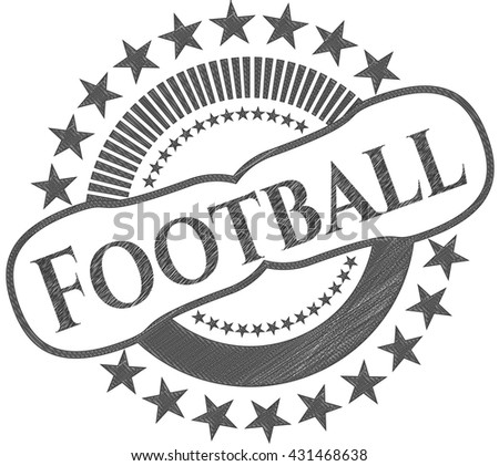 Football emblem draw with pencil effect