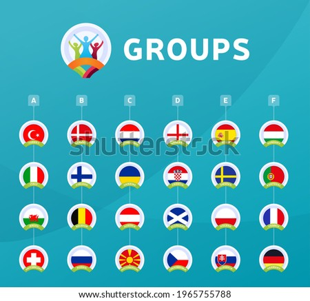 Football euro 2020 tournament final stage groups vector stock illustration. euro 2020 European soccer tournament with background. Vector country flags.