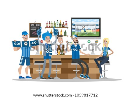 Football fans in bar with fans stuff.