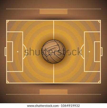 Football Field And Soccer Ball Vintage Style Illustration