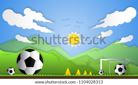 Football field in the middle of nature,The concept of football,Paper Art Style,Vector,Ilustration.
