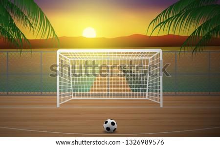 football field on the beach in
