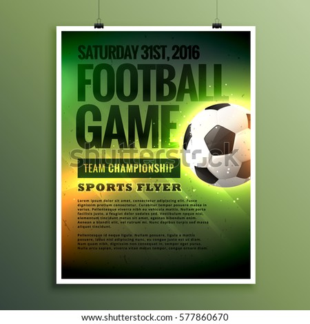 football game flyer design card