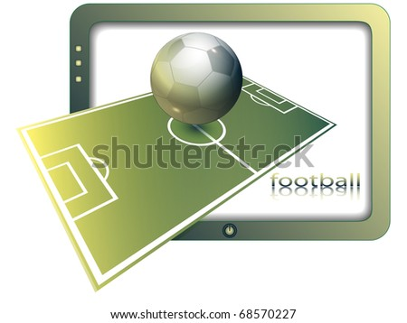 Football ground and ball against the screen of the modern TV - stock vector