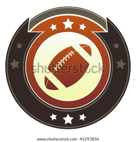 Football icon on round red and brown imperial vector button with star accents