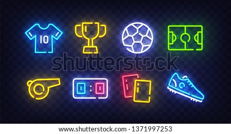 Football icon set isolated. Soccer neon sign. Uniform, Cup, Ball, whistle, soccer ball, football field, score, shoes, ticket