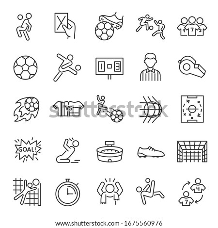 Football, icon set. Soccer. Kicking a ball, team, rule, goal, players, etc linear icons. Line with editable stroke