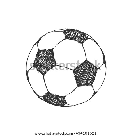 Football icon sketch or soccer drawing in doodles style. Hand-drawn in monochrome. Sport vector moments for tournament.