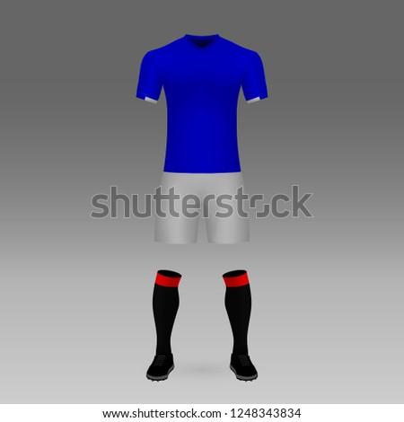 football kit Glasgow Rangers, shirt template for soccer jersey. Vector illustration