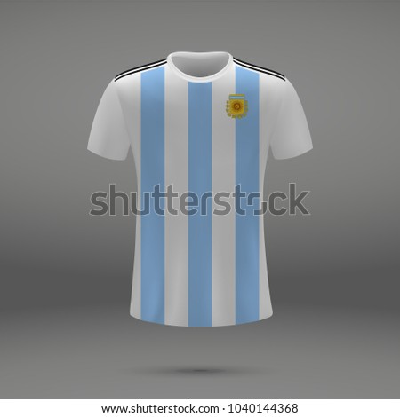 football kit of Argentina 2018, shirt template for soccer jersey. Vector illustration