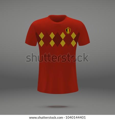 football kit of Belgium 2018, shirt template for soccer jersey. Vector illustration