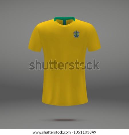football kit of Brazil 2018, shirt template for soccer jersey. Vector illustration
