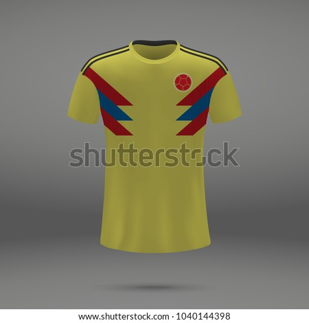 football kit of Colombia 2018, shirt template for soccer jersey. Vector illustration