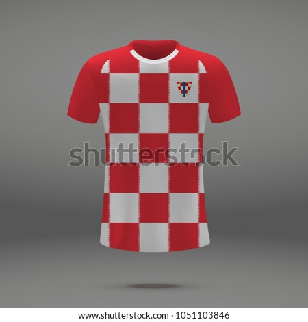 football kit of Croatia 2018, shirt template for soccer jersey. Vector illustration