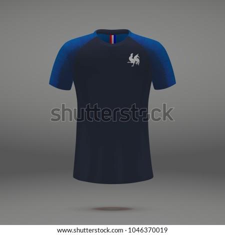 football kit of France 2018, shirt template for soccer jersey. Vector illustration