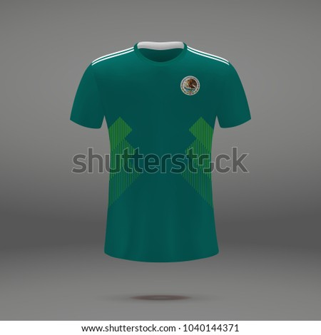 football kit of Mexico 2018, shirt template for soccer jersey. Vector illustration