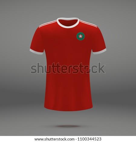 football kit of Morocco, shirt template for soccer jersey. Vector illustration