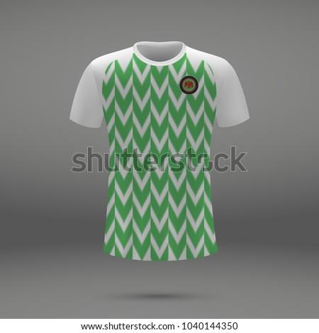 football kit of Nigeria 2018, shirt template for soccer jersey. Vector illustration