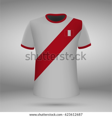 football kit of Peru with flag, t-shirt template for soccer jersey. Vector illustration