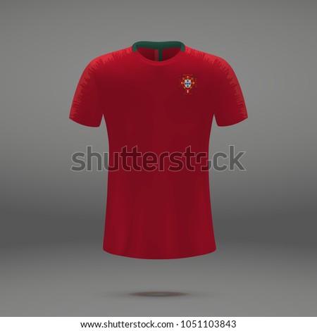 football kit of Portugal 2018, shirt template for soccer jersey. Vector illustration