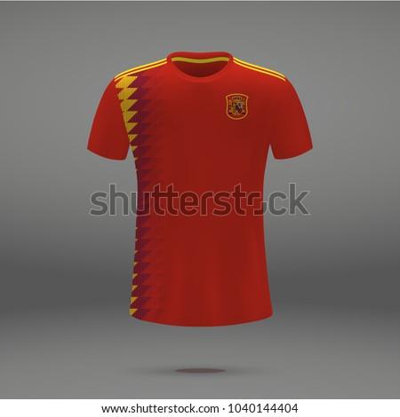 football kit of Spain 2018, shirt template for soccer jersey. Vector illustration