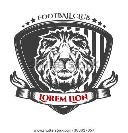 football label with lion's head