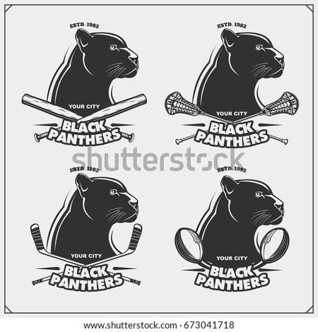 Football, lacrosse, baseball and hockey logos and labels. Sport club emblems with panther.