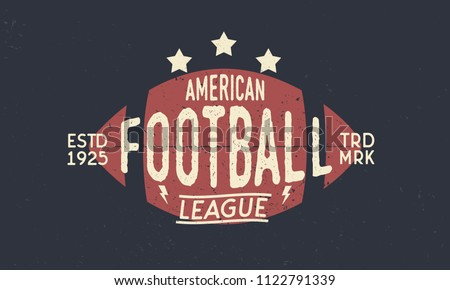 Football league logo. American Football ball. Trendy retro logo. Vintage poster with text and ball silhouette. Template. Vector Illustration