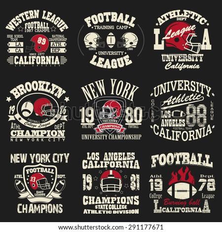 Football Logo Set Athletic T Shirt Fashion Design Sport