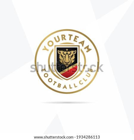 Football logo with mascot logo vector. Tiger head, tiger head vector, tiger esport, angry flat vector logo, elegant golden tiger illustration