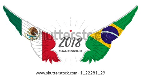 Football 2018. Match Mexico vs Brazil. Abstract Wing with Brazil and Mexico flag colors and symbols.