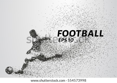 Football of the particles. Silhouette of a football player consists of points and circles. Vector illustration.