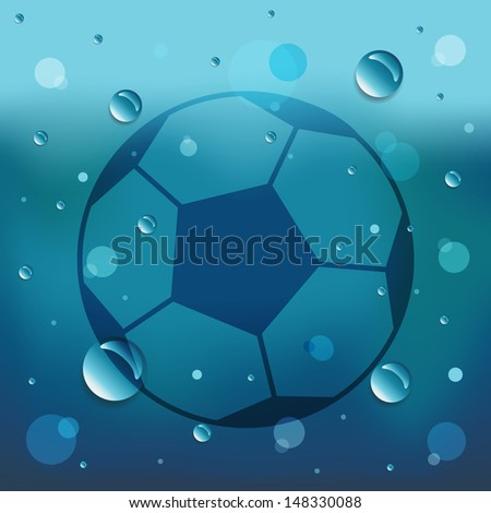 Football on glass and water drop.Vector EPS10