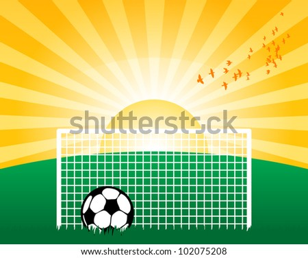 Football on grass field, vector illustration