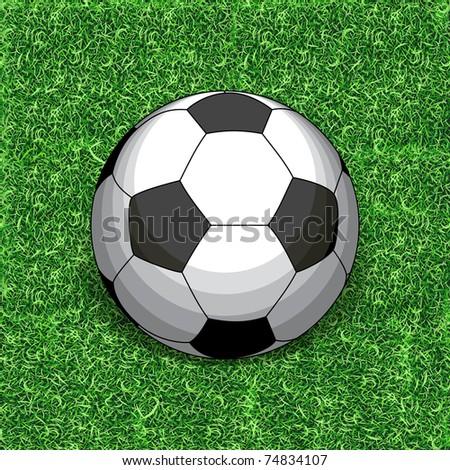 Football on grass. Grass - seamless.