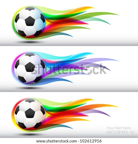 Football  or soccer ball in color flames banner
