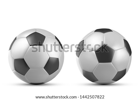 Football or soccer ball isolated on white background, sports accessory, equipment for playing game, championship or tournament competition, design element. Realistic 3d vector illustration, clip art
