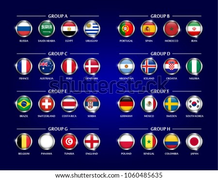 Football or Soccer cup 2018 team group set . Circle glass covered design of national flag with metal edge and sparkle . Vector for international world championship tournament .