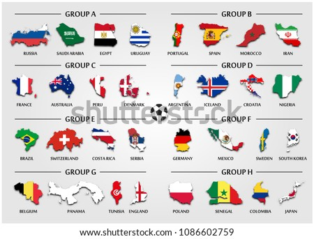 Football or Soccer cup team group set . Country map with national flag . Vector for international world championship tournament 2018 .