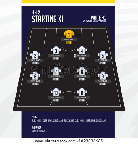 Football or soccer match lineups formation infographic. Set of football player positions on soccer field. Football kit with soccer jersey icons in flat design. Vector Illustration.