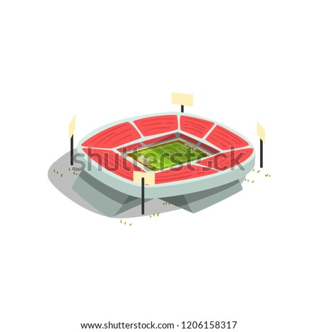 Football or soccer stadium building, sports venue for championships, matches vector Illustration on a white background