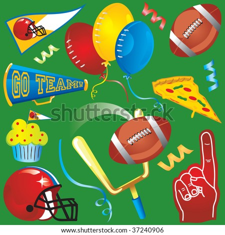 Football Party Clip Art Icons